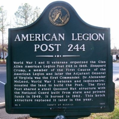 American Legion Post 244 Marker image. Click for full size.
