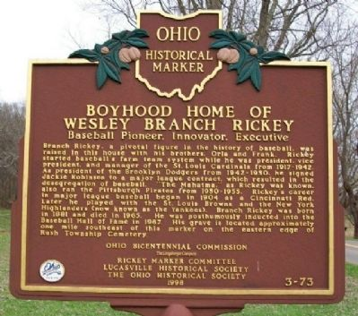 Boyhood Home of Wesley Branch Rickey Marker image. Click for full size.