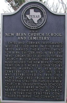 Site of New Bern Church, School, and Cemetery Marker image. Click for full size.