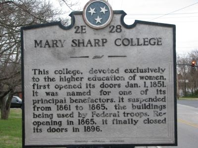 Mary Sharp College Marker image. Click for full size.