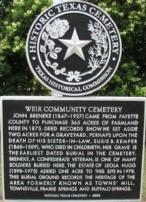 Weir Community Cemetery Marker image. Click for full size.