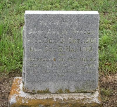 Anna Hansen Tombstone image. Click for full size.