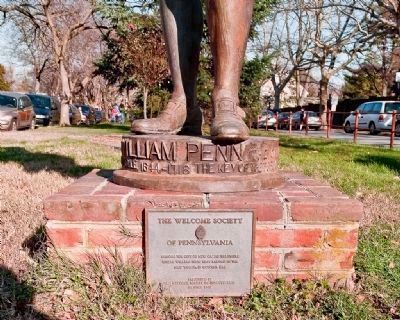 William Penn Statue (detail - additional plaque) image. Click for full size.