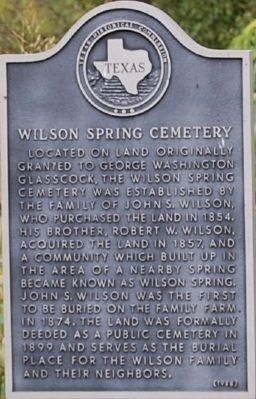 Wilson Springs Cemetery Marker image. Click for full size.