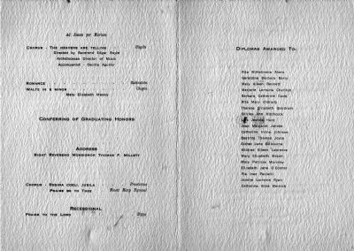 Mercy High School Commencement Program - 1939 image. Click for full size.