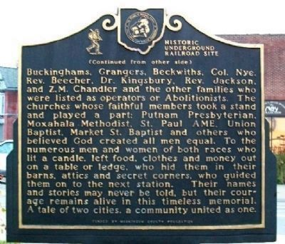 Zanesville Underground Railroad Marker, Side 2 Photo, Click for full size