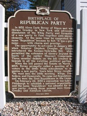 Birthplace of Republican Party Marker image. Click for full size.