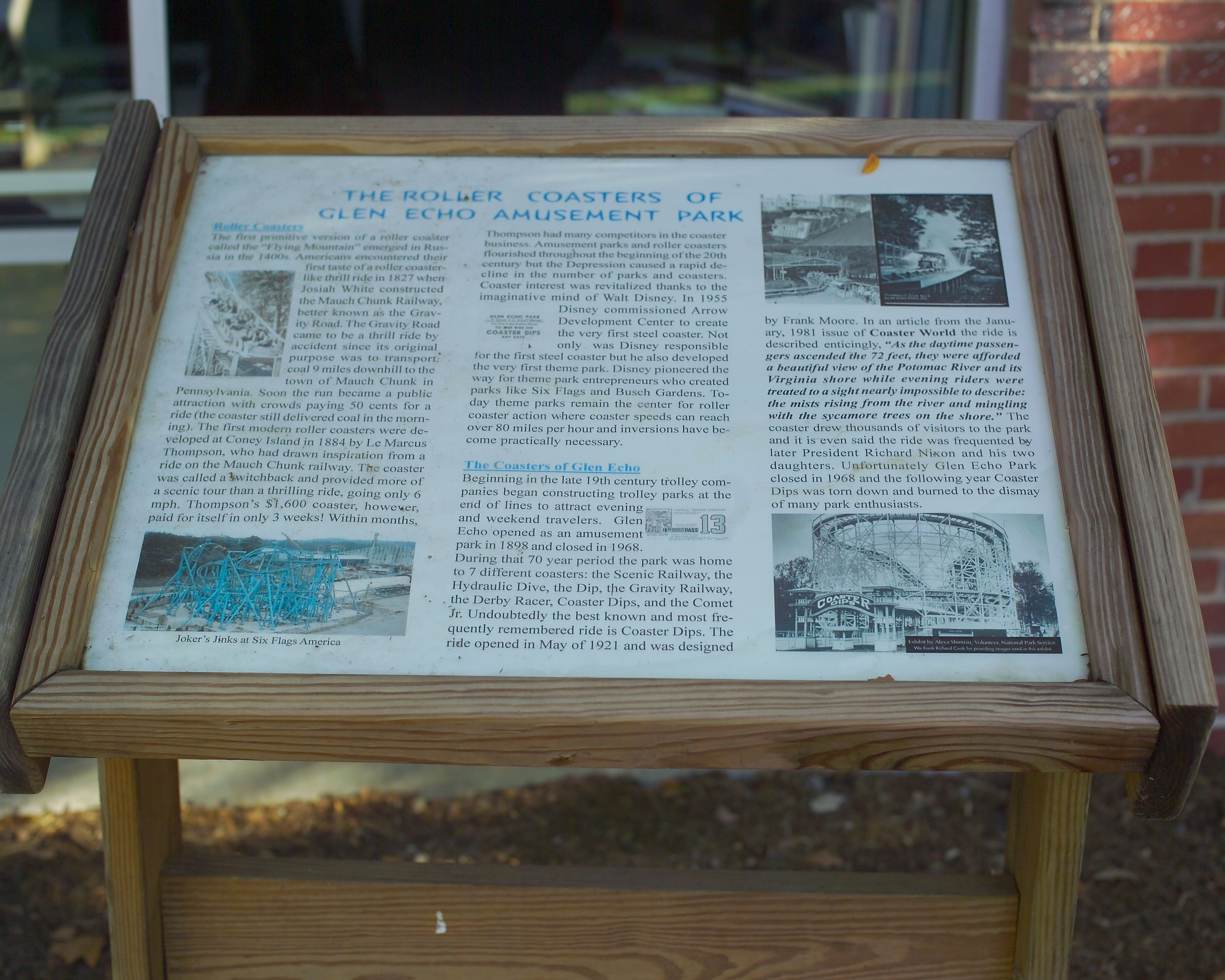 The Roller Coasters of Glen Echo Amusement Park Marker