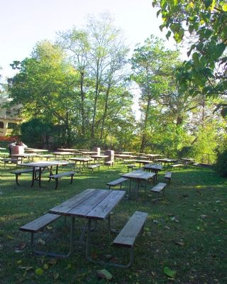 Picnic Tables on the Grounds of the Crystal Pool image. Click for full size.