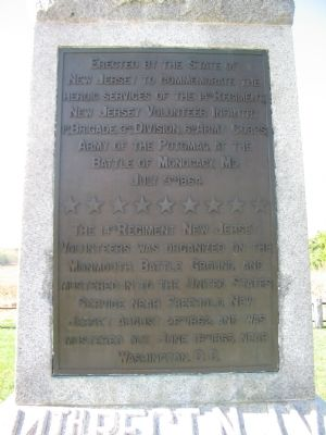 Inscription on the 14th New Jersey Monument Photo, Click for full size