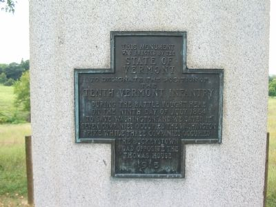 Inscription on the 10th Vermont Monument image. Click for full size.