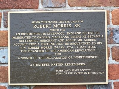 Robert Morris, Sr. Marker Photo, Click for full size