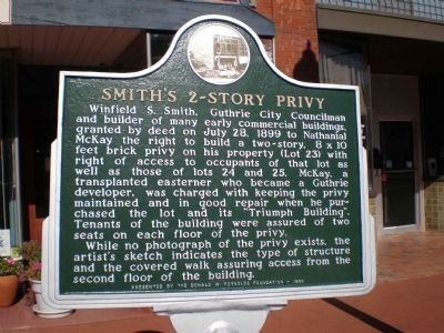 Smith's 2-Story Privy Marker image. Click for full size.