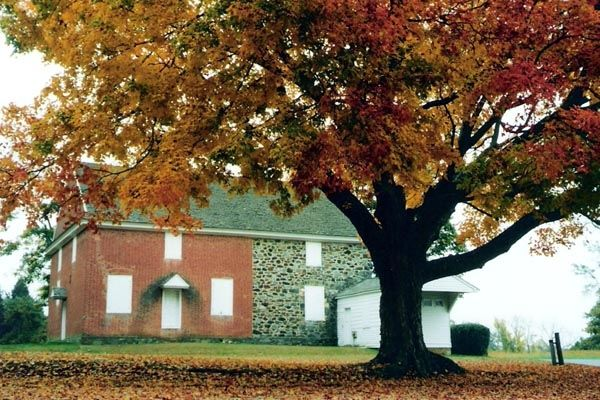 Brick Meeting House in Autumn Photo, Click for full size
