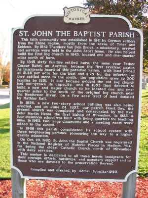 St. John the Baptist Parish Marker (North Side) image. Click for full size.