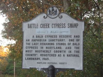 Battle Creek Cypress Swamp Marker image. Click for full size.
