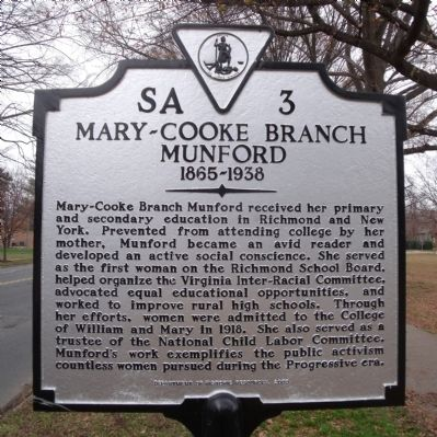 Mary-Cooke Branch Munford Marker image. Click for full size.