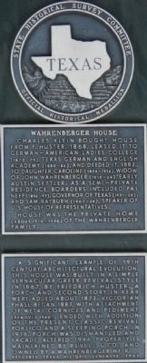 Wahrenberger House Marker image. Click for full size.
