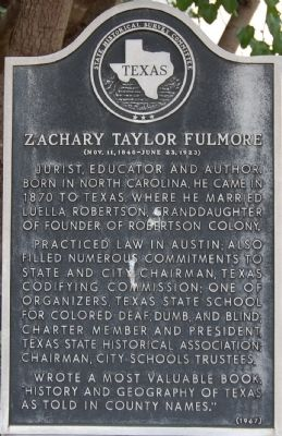 Zachary Taylor Fulmore Marker image. Click for full size.