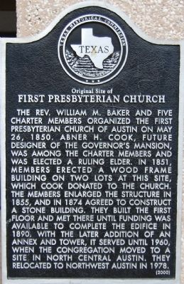 Original Site of First Presbyterian Church Marker image. Click for full size.