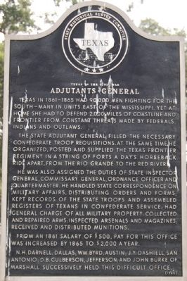 Adjutants General - Texas in the Civil War Marker image. Click for full size.