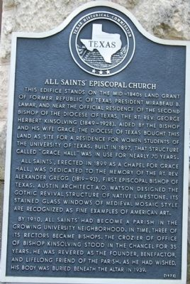 All Saints� Episcopal Church Marker image. Click for full size.