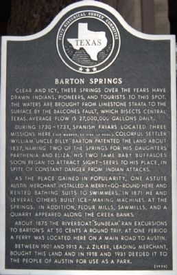 Barton Springs Marker image. Click for full size.