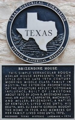 Brizendine House Marker image. Click for full size.