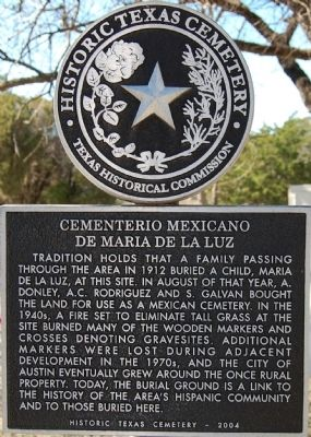 Cementerio Mexicano de Maria de la Luz Marker Photo, Click for full size