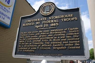 Confederate Storehouse Burned By Federal Troops Marker image. Click for full size.