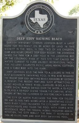 Deep Eddy Bathing Beach Marker image. Click for full size.