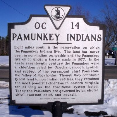 Pamunkey Indians Marker image. Click for full size.
