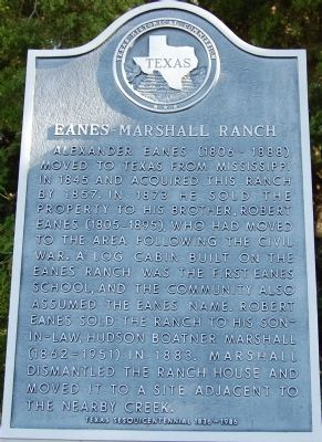 Eanes-Marshall Ranch Marker image. Click for full size.