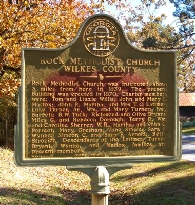 Rock Methodist Church Wilkes County Marker image. Click for full size.