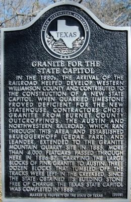 Granite For The State Capitol Historical Marker