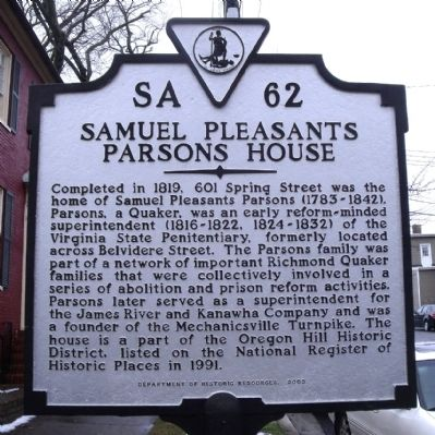 Samuel Pleasants Parsons House Marker image. Click for full size.