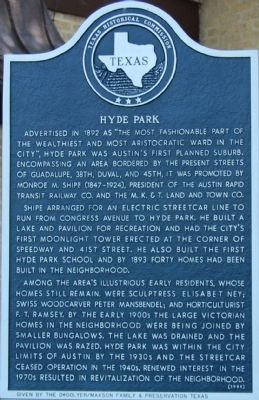 Hyde Park Marker Photo, Click for full size