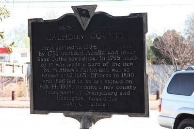 Calhoun County Marker, backside view image. Click for full size.