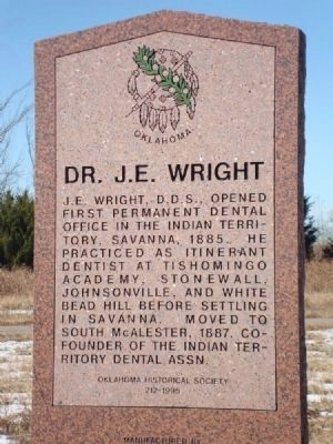 Dr. J. E. Wright Marker image. Click for full size.