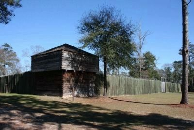Replica of Fort Mitchell on the site of the original 1813 fort. image. Click for full size.