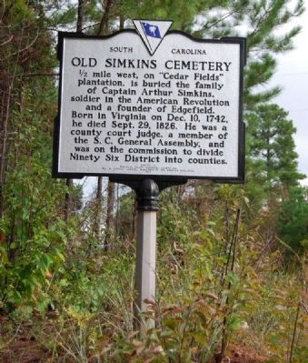 Old Simkins Cemetery Marker image. Click for full size.