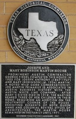 Joseph and Mary Robinson Martin House Marker image. Click for full size.