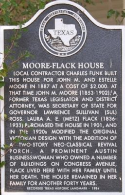 Moore-Flack House Marker image. Click for full size.