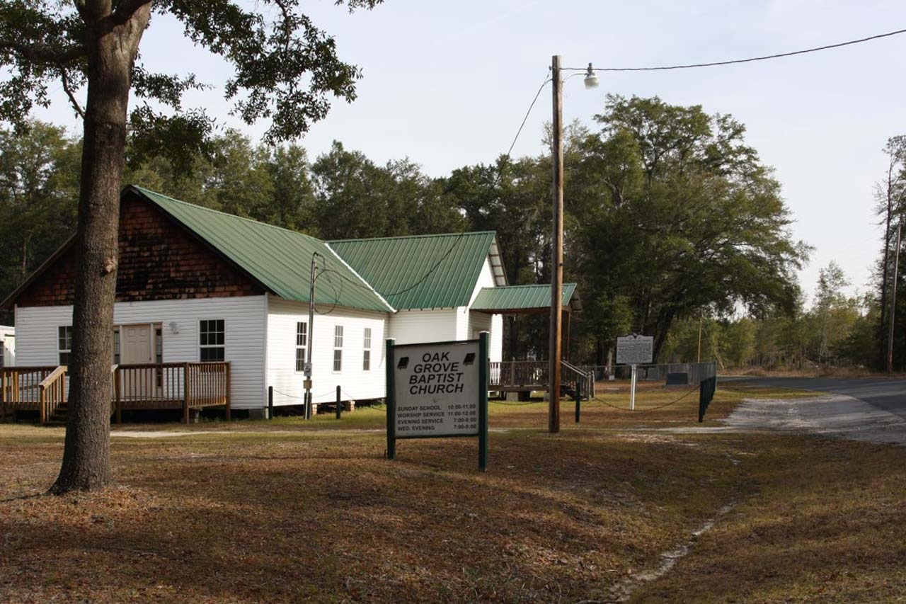 Oak Grove Baptist Church , looking east along Rivers Hill Road (State Road 27-17)