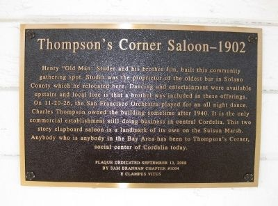 Thompson's Corner Saloon - 1902 Marker Photo, Click for full size