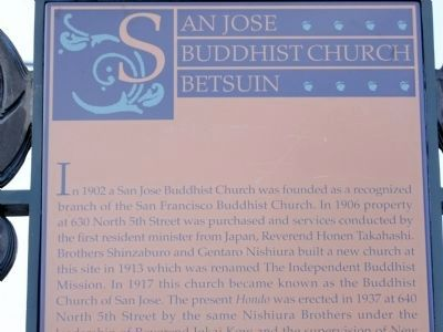 San Jose Buddhist Church Betsuin Marker image. Click for full size.