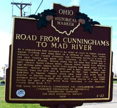 Road From Cunningham's to Mad River Marker (Side B) image. Click for full size.