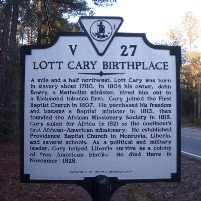 Lott Cary Birthplace Marker image. Click for full size.