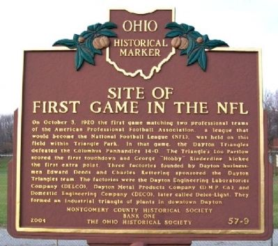 Site of First Game in the NFL Marker image. Click for full size.