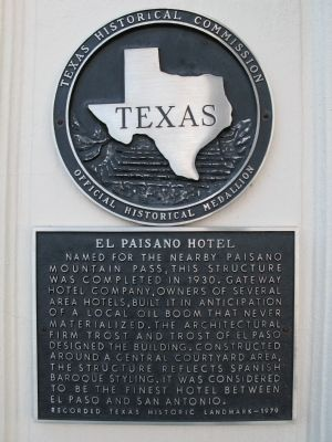 El Paisano Hotel Marker image. Click for full size.